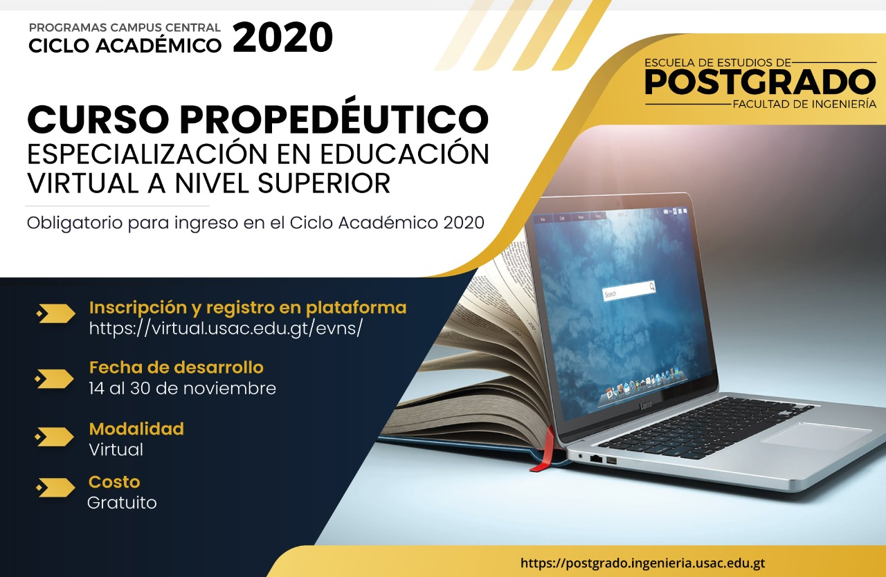 Curso propedéutico: Especialización en educación virtual a nivel superior